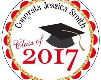 graduation stickers, custom gold graduation stickers, red and gold graduation stickers, class of 2017 stickers, personalized grad stickers