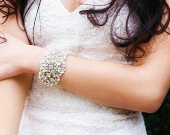 Bridal Rhinestone Cuff, Wedding Cuff, Bridal Bracelet, Wedding Accessories, Crystal Bracelet, Vintage Inspired