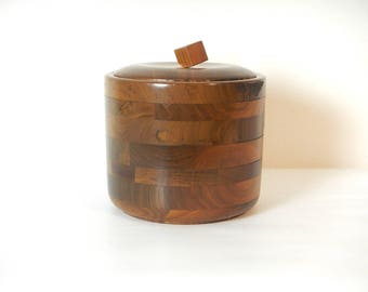Mid Century Hand Crafted Staved Walnut Ice Bucket/Vintage Walnut Ice Bucket