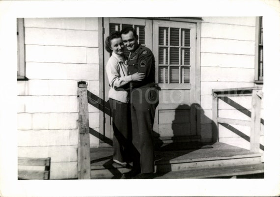 Vintage Photo, WW II Soldier Couple, Black & White Photo, Found Photo, Old Photo, World WarII Photo, Vernacular Photo, Romantic Photo  *1150