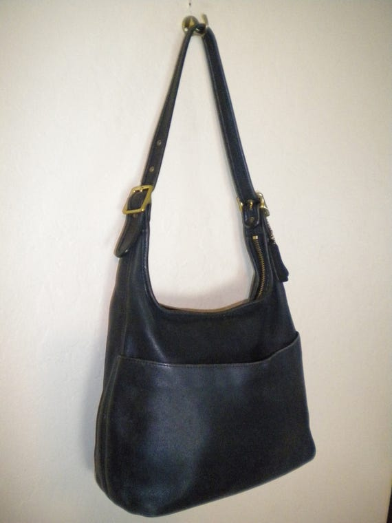 vintage coach made in usa black leather handbag purse classic. Black Bedroom Furniture Sets. Home Design Ideas
