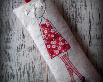 Red dancer hand embroidered collectible doll cushion