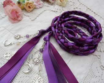Purple Handfasting sun and moon cord- with charms and semi precious crystal beads - rose quartz - amethyst - moonstone