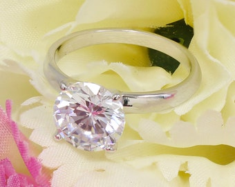 14k White Gold Round Cut Forever One Moissanite Engagement Ring Deco, Bridal, Wedding, Anniversary, Four prong set, Solitaire 3.00ctw