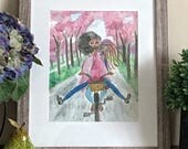 Cherry Blossom Girls- Black Girl Magic Art, Afro Art, Bicycle Wall Art, Black Women Art, African American Art Print by LeMahogany Art
