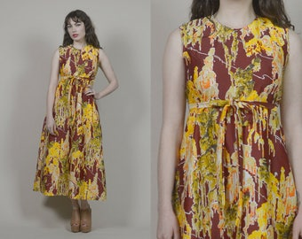 70s Maxi Dress Psychedelic Absract Print Burgundy Yellow Asian 1970s Sundress Hippie Mod Psychedelic Empire Waist Sleeveless / Size M Medium