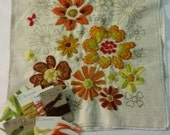 Vintage Linen pillow cover with crewel embroidery design started, ready to finish, from 1960s/1970s