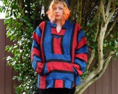 80s/90s Blue Cherry Drug Rug Hippie Stoner Hoodie Made in Mexico Cotton Acrylic Pullover Sweater XL
