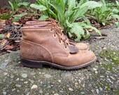 70s/80s Brown Leather Justin Riding Lacer Ropers Hippie Boho Western Ankle Boots Womens 7