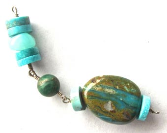 Wire Wrapped Bead Talisman - Blue Peruvian Opal w Turquoise Slices