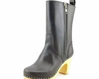 Black Natural Leather Swedish Hasbeens Zip It Kassi Wood Sole Clog Boots Size 6 / 36