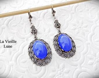 Blue Opal Gothic Earrings, Blue Victorian Earrings, Blue Opaline Vintage Glass Jewel Earrings, Victorian Jewelry