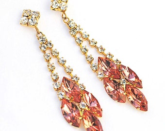 Spectacular Runway-Ready Peach Navette Rhinestone Dangle Earrings