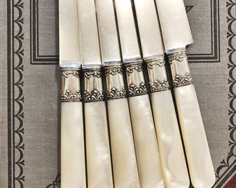 Set of 6 Antique Silver Dinner Knives with Mother of Pearl and Sterling Handles