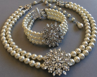 Complete Wedding Jewelry Set Necklace Bracelet Earrings 2 and 3 strands Swarovski Pearls with Rhinestone brooch bridal jewelry sets