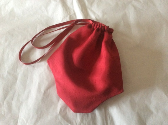 Regency Reticule,Bag. Victorian. Jane Austen. Red Faux Silk.