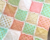 Baby Rag Quilt Glitz Baby Rag Quilt  Mint  Melon White and Gold Baby Blanket Lap Quilt Childs quilt