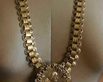 Ornate Double Sided Gold Coin and Bookchain Oversize Statement Runway Pendant Necklace