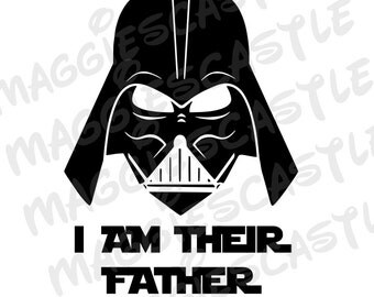 VINYL Decal - DIY Iron On - Star Wars Darth Vader - I Am Your Father