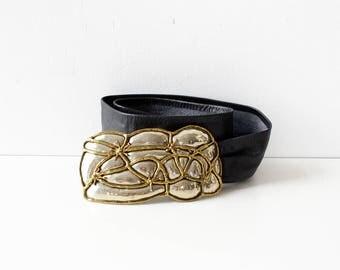 Brutalist Mixed Metal Belt • Black Leather Belt • Statement Belt • 80s Belt • Vintage Belt • Black Belt | BT348