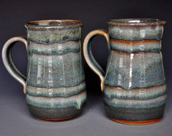 Pair of Large Pottery Mugs Ceramic Beer Stein Handmade Stoneware B