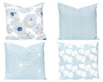 Light Blue Pillow Covers - Throw Pillow Covers - Floral Decor - Blue Pillow Shams - Blue Bedding - Sofa Pillow Covers - Living Room Decor