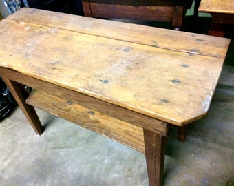 1800's Pine Table, Antique Kitchen Island, Rustic Table, Antique Table with Shelf and Square Nails, Farm Table, Primitive Table
