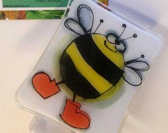 Fused Glass Night Light - Happy Bee