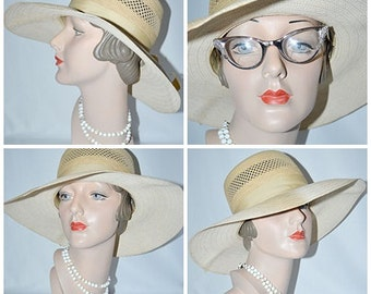 Vintage 1960s Wide Brimmed Genuine Panama Sun Hat Sz M 21 1/2 Inches