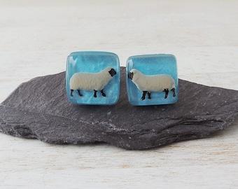 Sheep Cufflinks, Little Sheep Diorama Figures in Blue Resin Cabochons, Sheep Jewellery, Resin Jewellery, Farmer Farm Animal, UK, 2316