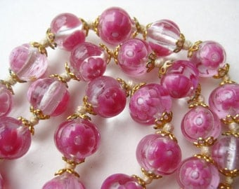 "Vintage 40s Pink Italian Venetian Art Glass Murano Bead 16"" Necklace"