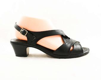 Size 9.5 Shoes - Unworn Black Criss Cross Sandals - 9 1/2 Narrow - Deco Style Retro Look - Open Toe Pumps - 1980s 1990s Deadstock - 47711-1