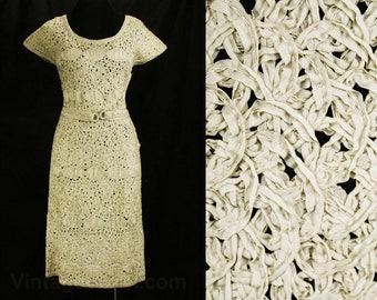 Size 6 Ribbon Dress - 1950s Beige Stitched Soutache Cocktail - Taupe Ribbonwork 50s Dress - Original Belt - Pristine - Bust 34 - 48783