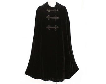 Fantastic 1960s Black Velvet Cape with Military Style Braid - Storybook Style 60s Winter Formal Wrap - Size Medium to Large - 48992