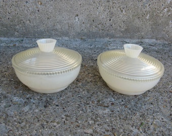 art deco celluloid vanity dishes set of 2 optic lids marbled bottoms