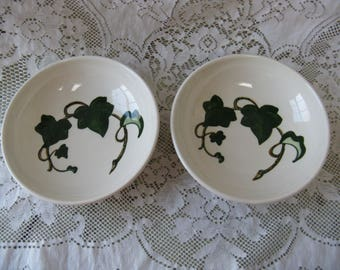 metlox poppy trail california ivy 6 3/4 inch bowls set of 2 hand painted mid century pottery