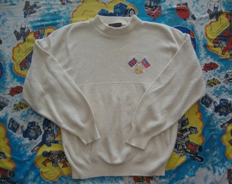 Vintage Andrew Rohan British Car MG Embroidered ivory pullover Sweater XL