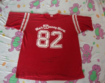 Vintage 80's Walt Disney World 1982 82 jersey ringer red T Shirt Adult size XL