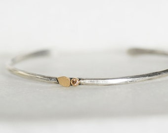 Diamond Petal Cuff- Skinny Diamond Cuff - Sterling and 18k Gold