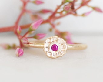 Ruby Wildflower Ring - Choose Ruby or Sapphire Center - Gold Wildflower Ring - Choose 14k OR 18k