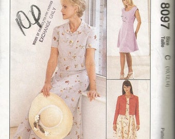 McCall's 8097   Sew News Easy Dress and Jacket Pattern SZ 10-14
