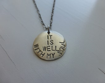 It is Well With My Soul necklace, hand stamped metal necklace, christian jewelry, bible hymn inspirational, jewelry with meaning, wonderkath