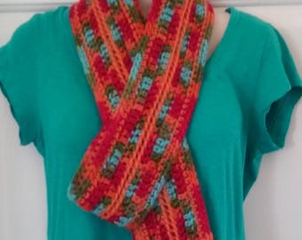 Scarf -Orange, Turquoise, Olive and Metallic Pink