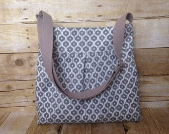 Crossbody Bag / Pleated Purse with adjustable Strap - Grey and White Ikat Canvas Fabric with free keyfob  SALE!