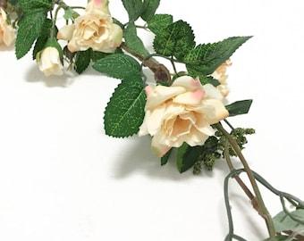 6 Ft Ivory Yellow Blush Mini Rose GARLAND - Wedding Crowns, Wedding Arbor, Flower Crown, Silk Flowers, Artificial Flowers, Nursery, Hat