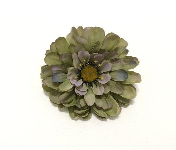 Silk Flowers - One Jumbo Dusty Seafoam Green Zinnia - 4 Inches - Artificial Zinnia