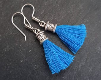 Mini Electric Blue Tassel Drop Earrings - Bohemian Boho Style Light Comfortable Daytime Jewelry - Authentic Turkish Style