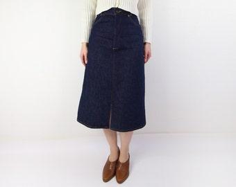 VINTAGE 1970s Levis Denim Skirt Dark Blue Jean