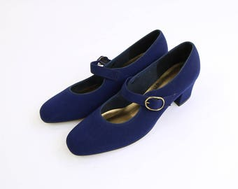 VINTAGE Mary Jane Heels Blue Size 6