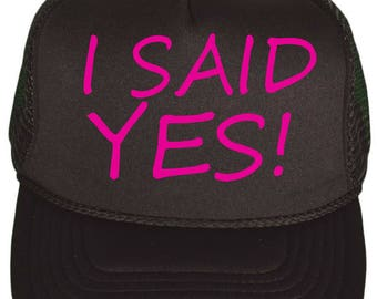 bachelorette baseball caps.  Girls Weekend- Just engaged Bride cap - I said yes, black cap with hot pink writing - engagement gift ideas